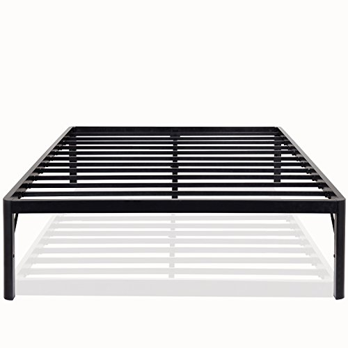 PrimaSleep 18 Inch High Extra Support/ Heavy Duty Steel Slat Bed Frame/ Anti-slip/ Easy Assembly/ Noise Free/ No Box Spring Needed, Black ,Full