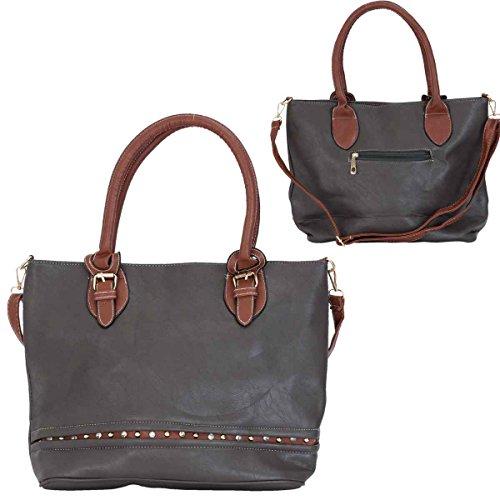 Clayre & Eef bag215Borsa a mano in similpelle grigia con manico e tracolla marrone ca. 40x 30cm