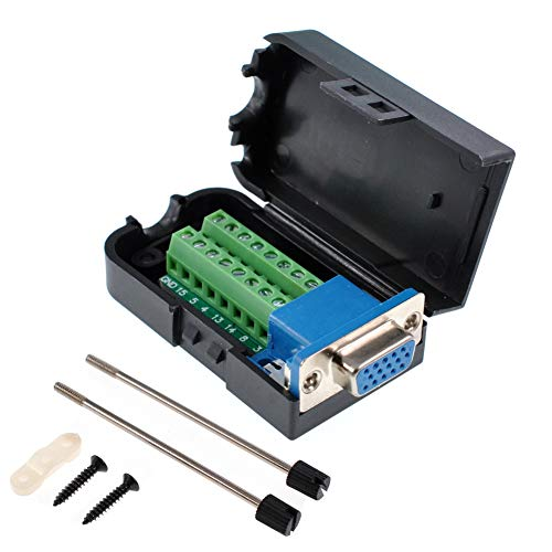 (Oiyagai DB15 3+9 D-SUB VGA Female 3Row 15Pin Connector Adaptor Screw Terminal Breakout Board Free Welding)