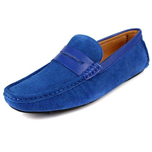 Santimon Mens Casual Komfort Äkta Nubuck Läder Utomhus Låga Båt Skor Mockasin Loafers Blå