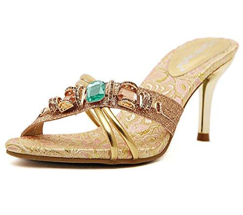 WSK Schuhe mit hohen Absätzen Flipflops mit Strass Damen Sandalen und Pantoffeln Große Damen Sandalen mit Damenschuhen , Silver , 35