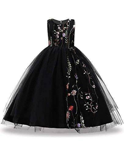 FKKFYY Wedding Party Holiday Big Girl Long Dress with Embroidery