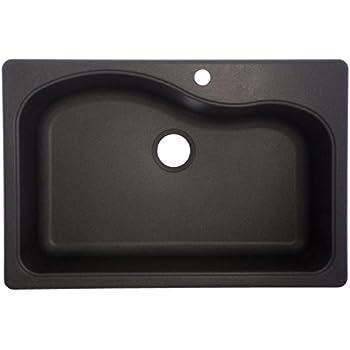 "Franke Gravity 33"" Dual Mount Granite Single Bowl Kitchen Sink, Graphite"