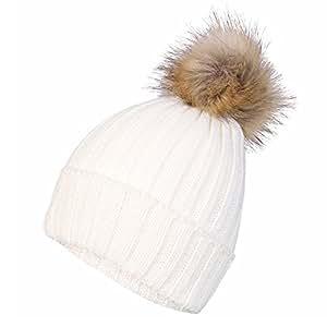 Inspirations Women's Fluffy Faux Fur Pom Pom Beanie Hat - Cream