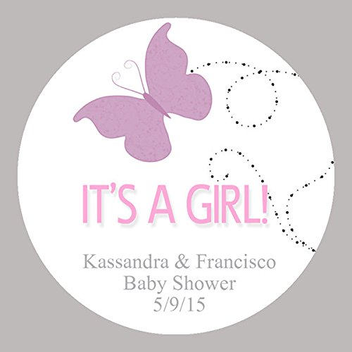 CUSTOM Butterfly It's a Girl Baby Shower Shower Stickers, Shower Favor (Homemade Baby Shower Favors)