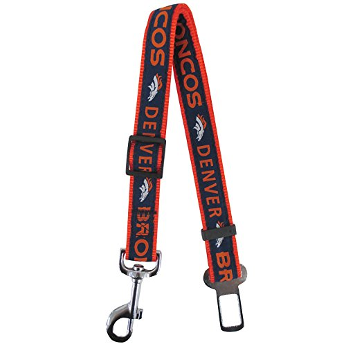 NFL Denver Broncos Pet Seatbelt, Retractable Dog Seat Belt Restrain ()