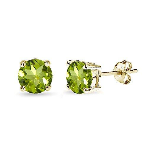 Yellow Gold Flashed Sterling Silver Peridot 7mm Round-Cut Solitaire Stud Earrings ()