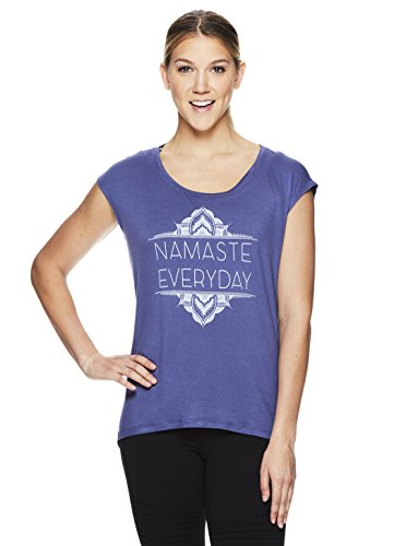 Gaiam Women's Dani Yoga Short Sleeve T-Shirt - Workout Top for Women - Dani Blue Indigo, Small