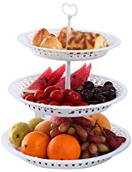 3 Tier Cake Stand Fruit Plate White Creative Cupcake Cakes Desserts Fruits Candy Buffet Plastic Holder for Wedding Home Decor Birthday Party (3 Tier)