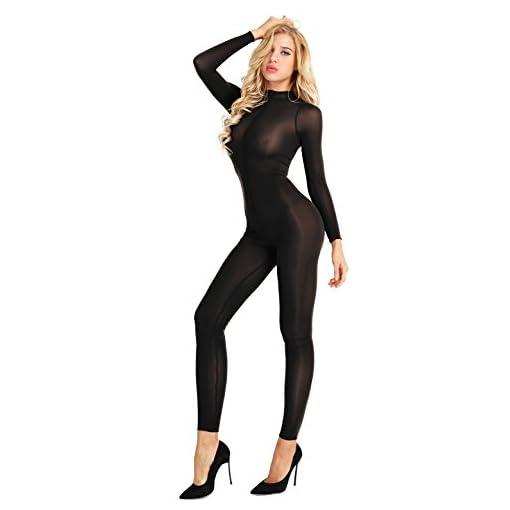 Ranrann Womens Sheer See Through Bodystockings Sexy Crotchless Bodysuit Lingerie Babydoll Teddy Catsuit Clubwear