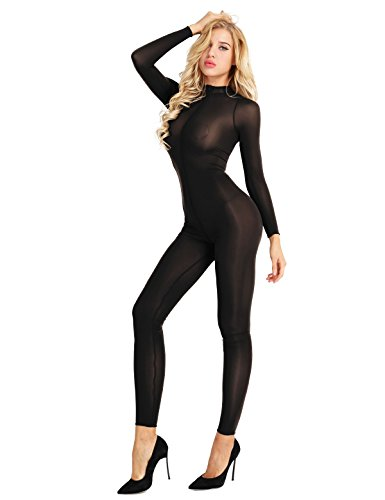 ranrann Women's Long Sleeve Double Zipper Sexy Sheer Mesh Turtleneck Bodysuit Jumpsuit Catsuit Black Large -
