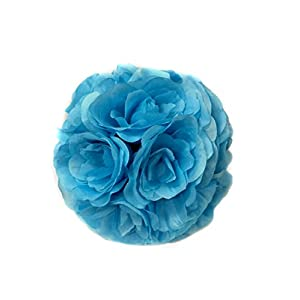 Ben Collection 10 Pack of Fabric Artificial Flowers Silk Rose Pomander Wedding Party Home Decoration Kissing Ball Trendy Color Simulation Flower (Turquoise, 20cm) 38