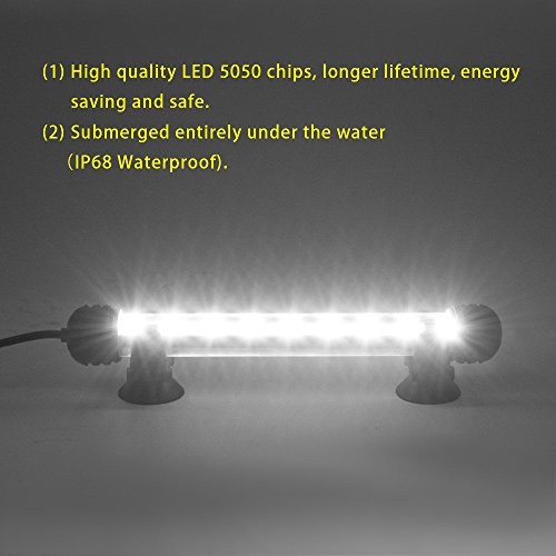 Smiful LED Aquarium Light, Fish Tank Light Submersible Underwater Crystal Glass LEDs Lights, 7.5- White