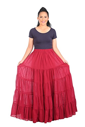 (Lannaclothesdesign Women's Cotton Long Ruffle Full Circle Long Skirts Maxi Skirt One Size Burgundy)