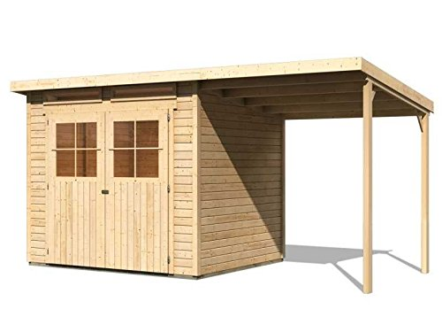 karibu gartenhaus verona 4 inkl schleppdach natur sparset mit fu boden selbstklebender dachbahn. Black Bedroom Furniture Sets. Home Design Ideas