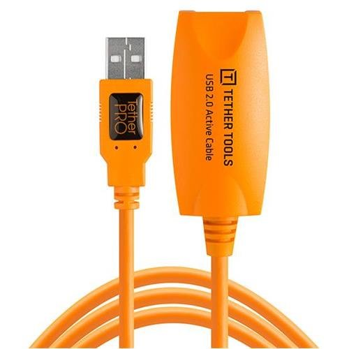 Tether Tools Pro 32' USB 2.0 Active Extension Cable, High-Visibility Orange