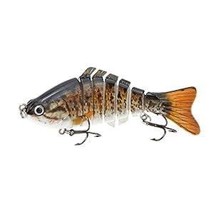 "Lixada Fishing Lure 7 Segment Lifelike Swimbait Multi Jointed Artificial Bait Crankbait Hard Bait Treble Hooks for Bass Perch Trout 10cm/4"" 15.5g,10 Colors"