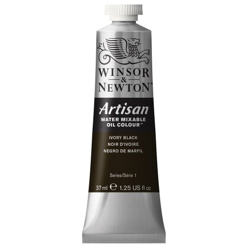 Winsor & Newton Artisan Water Mixable Oil Colour Paint, 37ml tube, Ivory Black