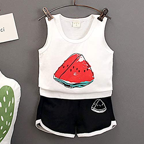 Little Girl Pajamas Sets,Jchen Baby Kids Little Girl Watermelon Print Sleeveless Tops Shorts Princess Outfits for 0-3 Yrs