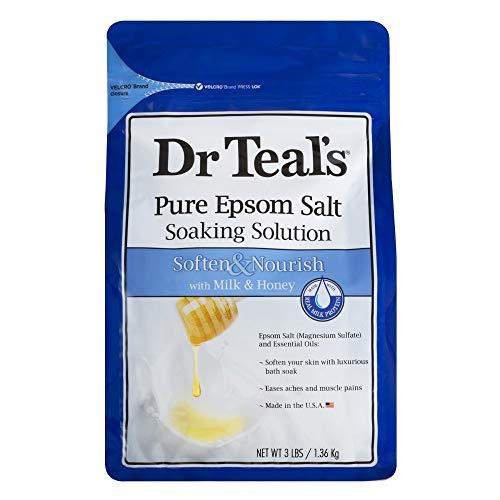 Dr. Teal's Epsom Salt Soaking Solution, Soften & Nourish with Milk and Honey, 48oz