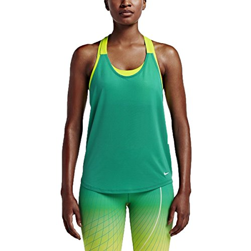 Nike Womens Elevate Elastika Tank Size M Teal Charge White Volt