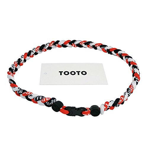 TOOTO Sport Style Tornado Titanium Necklaces Three Colors Braided Rope Baseball Necklace-20 Length (Red & White & Black)