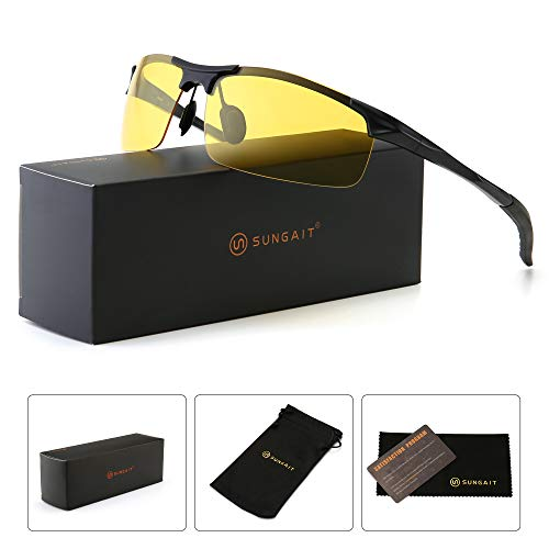 SUNGAIT HD Polarized Anti-Glare Safety Sunglasses for Night Driving UV Protection(Black Frame/Night ()
