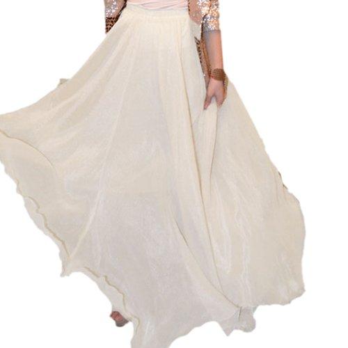 Finejo Womens Chiffon Retro Long Maxi Skirt Vintage Dress Apricot