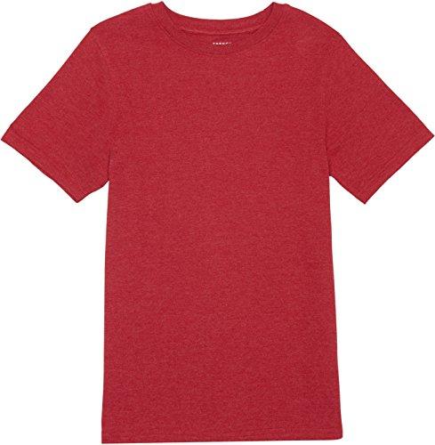 French Toast School Uniform Boys Short Sleeve V-Neck T-Shirt, True Crimson Heather, - Heather Crimson
