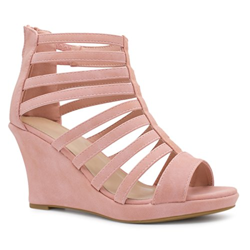 Premier Standard Women's Gladiator Inspired Bird Cage Strappy Wedge Sandals, TPS Pumps-07L Blush Size 10 (10 Size Wedge Sandals)
