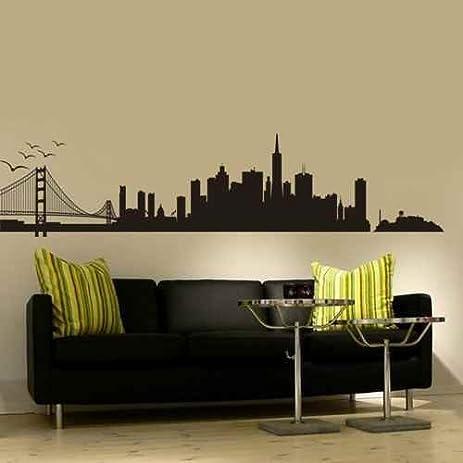 Amazon.com: San Francisco City Skyline Silhouette Wall Art Golden ...