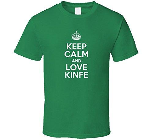 Kinfe Keep Calm and Love Parody Custom Name T Shirt M Irish Green