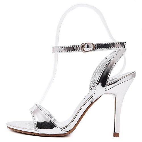 AmoonyFashion Womens PU Solid Buckle Open Toe High-Heels Heeled-Sandals Silver lVndY4