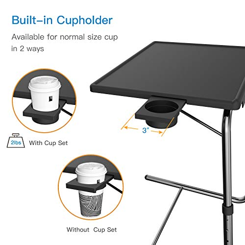 Adjustable TV Tray Table - TV Dinner Tray on Bed & Sofa, Comfortable Folding Table with 5 Height & 3 Tilt Angle Adjustments, Laptop Table with Built-in Cup Holder (1 Pack, Black) by HUANUO (Image #6)