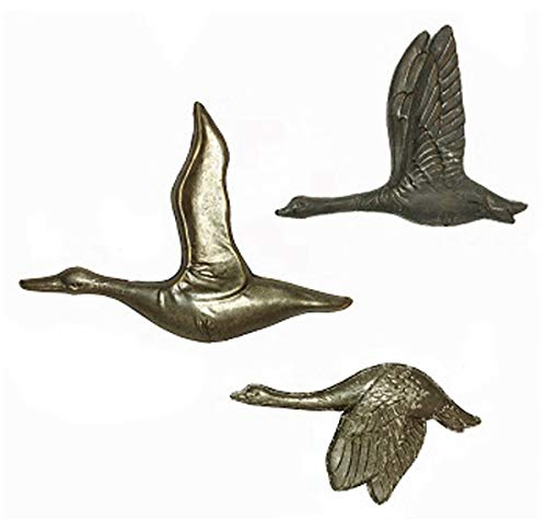 Flying Ducks or Geese Wall Art - Antiqued Metal - Set of 3 - Home Decor
