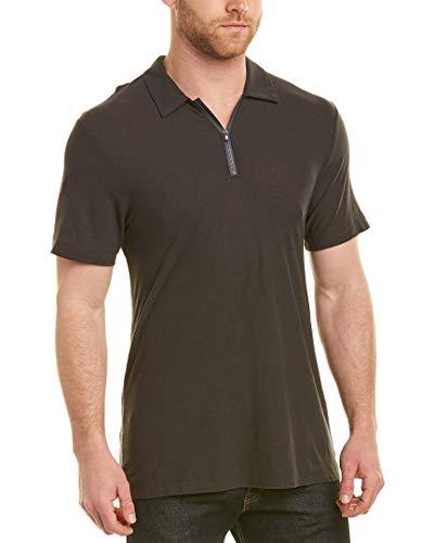 James Perse Mens Zip-Front Linen-Blend Polo, 2, Grey ()