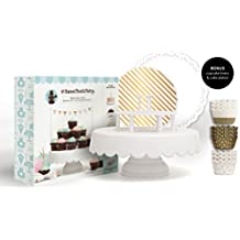 American Crafts, The Sweet Tooth Fairy Magic Sweet Cake Stand Set, White, with 24 Baking Cups and 2 Serving Platters - Multi Purpose Cake / Cupcake Stand and Baking Accessories