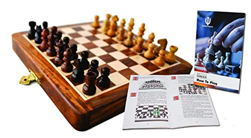 THE WILSWANK 12 x 12 Inch Premium Foldable Magnetic Chess Set with Free Chess Bag and Strategy Guide Book (How to Play Chess) ()