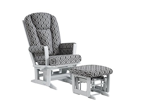 Dutailier Modern Glider-Multi-Position Recline and Nursing Ottoman Combo, Grey Charcoal Loops