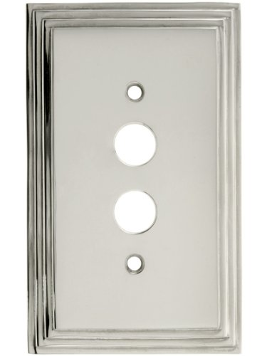 House of Antique Hardware R-010II-MCSP-S-PN Mid-Century Push Button Switch Plate - Single Gang in Polished Nickel