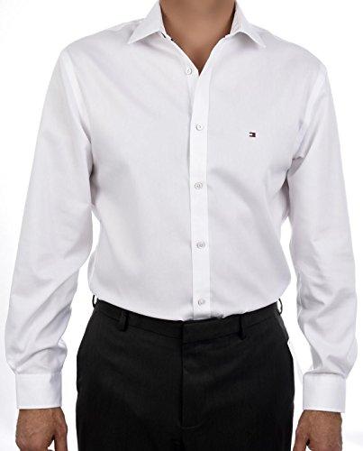 Tommy Hilfiger 100 % Cotton LS Slim Fit Non Iron Men's Dress Shirt White - 16.5 32-33