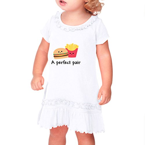 Price comparison product image A Perfect Pair Burger And Fries Infants Sunflower Short Sleeve Dress White 24 Months