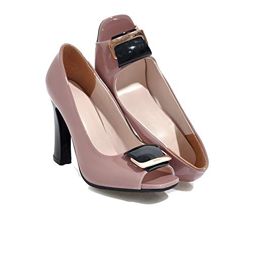 Women Pumps Spring Summer Comfortable Shallow Simple peep Toe Black Pink Size 34-40 high Heels Shoes,Pink,4