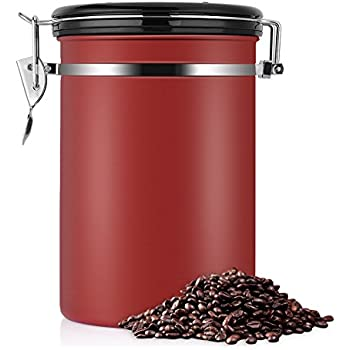 Large Airtight Coffee Container,Ground or Whole Beans Fresher for Longe,Stainless Steel Red Vacuum Sealed Food Storage Container for Suger, Tea,Coffee(22 OZ)