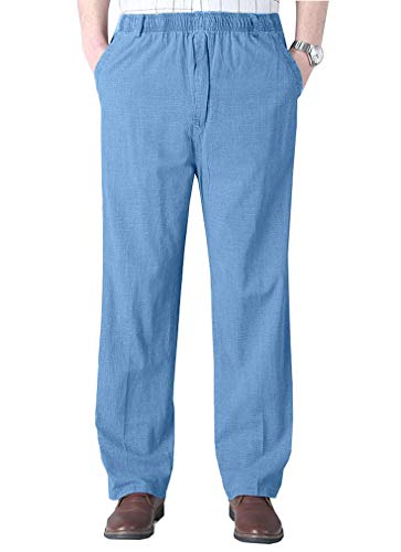 Soojun Mens Seniors Solid Loose Fit Elastic Casual Pants, Washed Blue (Medium, 34W) ()