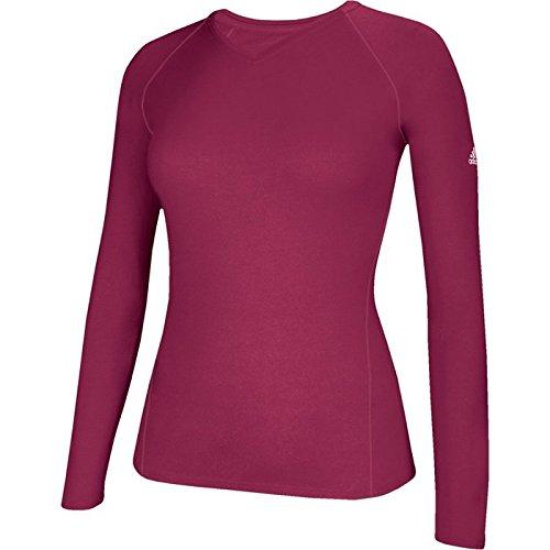 Burgundy Long Adidas Women's Sleeve Climalite Shirt wqx8zXx