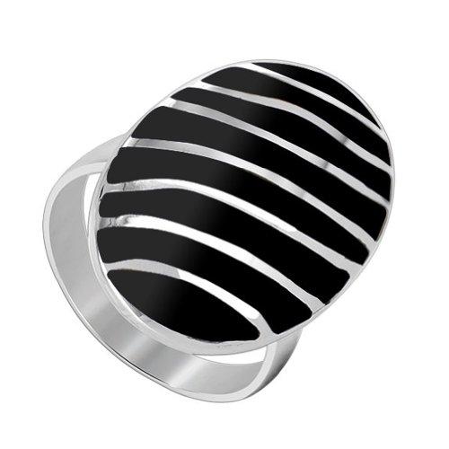 Gem Avenue 925 Sterling Silver Oval Black Onyx Gemstone Ring Size 6.5 Stripes Design