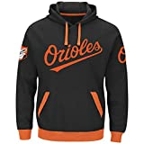 Majestic Baltimore Orioles Mens Black Third Wind Embroidered Pullover Hoodie Sweatshirt
