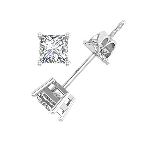 White Certified Stud Diamond Gold (IGI Certified 14K White Gold 4 Prong Princess Cut Diamond Stud Earrings (1/2 Carat))