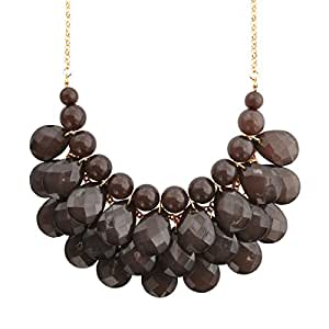 Jane Stone Fashion Bubble Layered Necklace Floating Teardrop Collar Statement Jewelry for Women(Fn0580-Grey)